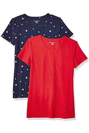 Amazon Essentials 2-Pack Short-Sleeve Crewneck Patterned T-Shirt Navy Star/