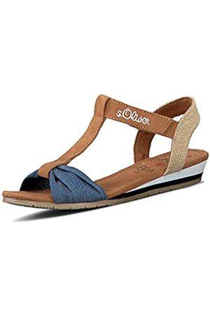 s.Oliver Girls' 5-5-58200-24 T-Bar Sandals, (Cognac Comb 318)