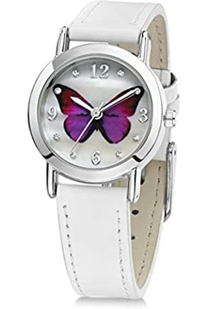 Jo for Girls Pink Butterfly Girl's Quartz Analogue Watch with Mother of Pearl Dial and