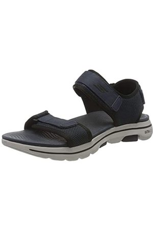 Skechers Men's GO Walk 5 Open Toe Sandals, (Navy Synthetic/ Trim Nvbk)