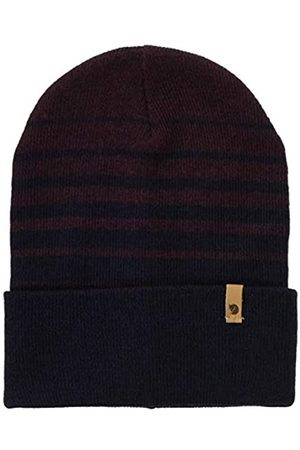 FJALLRAVEN Unisex_Adult Classic Striped Knit Hat Beret, Dark Navy-Dark Garnet