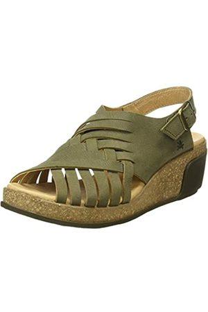 El Naturalista Women's N5018 Pleasant Leaves Open Toe Sandals, (KAKI KAKI)