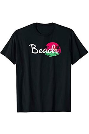 Beach Life Clothes Co 7575 Beach Cover Up For Women Cute Sunset Top Tropical Pink Green T-Shirt