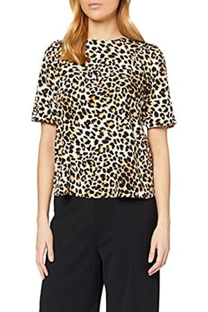 Dorothy Perkins Women's Tan Animal Puff Sleeve High Neck Top Blouse