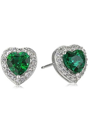 Amazon Collection Sterling Silver Created Emerald and Created White Sapphire Halo Heart Stud Earrings