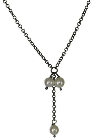 Jane Davis SATC CH035 Freshwater Pearl Drop Necklace on a 42cm oxidised sterling Chain