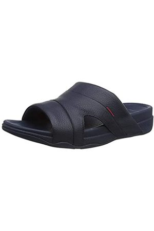 FitFlop Men's Freeway Pool Slide in Leather Flip Flops, (Midnight Navy 399)
