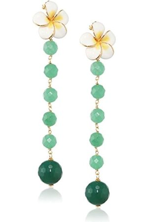 MISIS Everglades Women's Earrings 925 Sterling Silver Gold Plated Round Cut Green Agate OR09142BI 8 CM