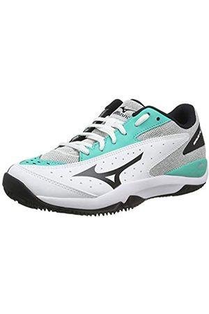 Mizuno Unisex Adult's Wave Flash CC Tennis Shoes, (Wht/Blk/Atlantis 09)
