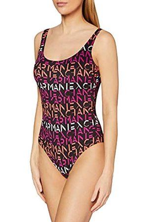 Armani Exchange Women's Allover Swimsuit, (Nero/Stampa Ao Logo- /Ao Logo Print 73120)