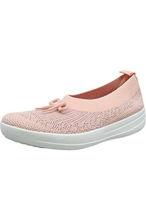 FitFlop Women's Uberknit Ballerina with Bow - Metallic Closed Toe Ballet Flats, (Ss20 Coral 807)