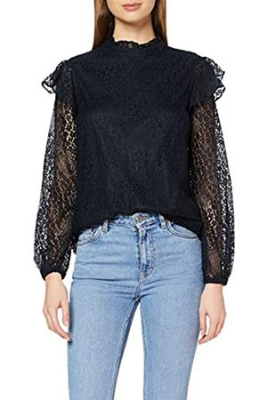 Dorothy Perkins Women's Navy Lace Ruffle Mix Top Blouse