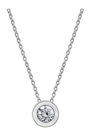 La Lumiere Rhodium Plated Sterling Silver Round Bezel Pendant Necklace