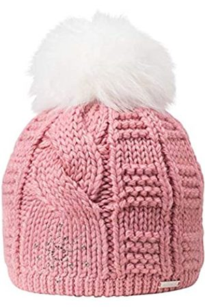 GIESSWEIN Bobble Cap Honigstein Azalee ONE - Knit hat Ladies, Fake Fur Bobble, Warm Fleece Lining, with Rhinestones and Studs, Müte with Plait Pattern