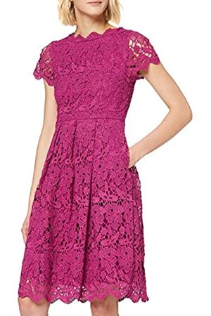 Yumi Plum Guipure Lace Fit and Flare Dress