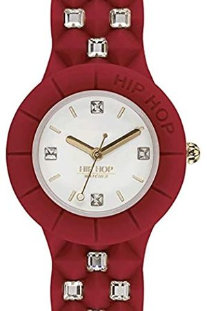Hip Hop HIP-HOP Ladys' Sweet Rebel Watch Collection Mono-Colour White dial 3 Hands Quartz Movement and Silicon RED Strap HWU0915