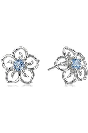 Amazon Collection Sterling Silver Created Aquamarine Flower Stud Earrings