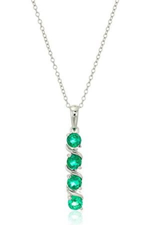 Amazon Essentials Sterling Silver Created Emerald Four Stone Pendant Necklace