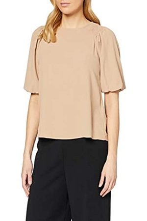 Dorothy Perkins Women's Camel Puff Sleeve High Neck Top Blouse