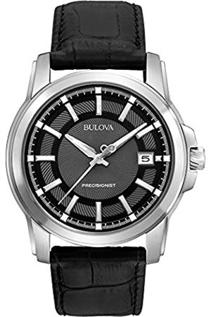 BULOVA Precisionist Men's UHF Watch with Black Dial Analogue Display and Black Leather Strap 96B158
