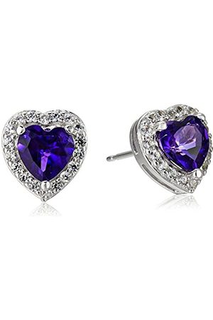 Amazon Collection Sterling Silver Genuine African Amethyst and Created White Sapphire Halo Heart Stud Earrings