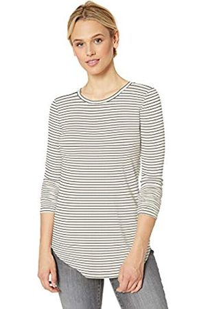 Daily Ritual Supersoft Terry Long-Sleeve Shirt With Shirttail Hem - Skinny Stripe
