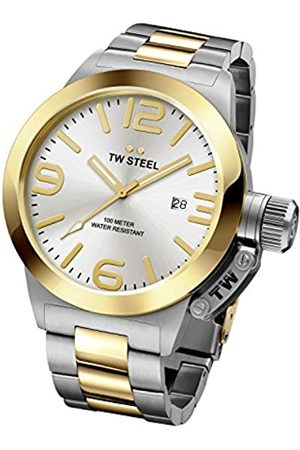 TW steel Canteen Unisex Quartz Watch with Silver Dial Analogue Display and Silver Stainless Steel Bracelet CB32