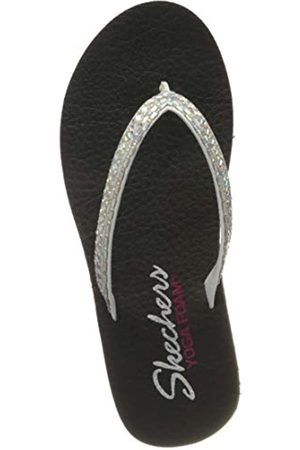 Skechers Women's Meditation Flip Flops, ( Duraleather/Iridescent Rhinestone Wht)