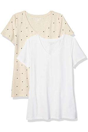 Amazon 2-pack Short-sleeve V-neck Patterned T-shirt (Oatmeal Palm/ )