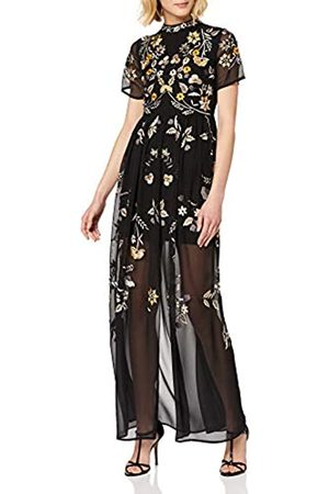 Frock and Frill Women's Josie Short Sleeve High Neck Embroidered Maxi Dress Party