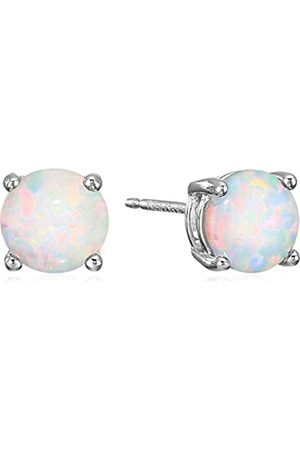 Amazon Sterling Silver Round Created Opal Birthstone Stud Earrings (October)