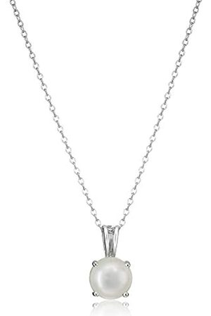 Amazon Collection Sterling Silver Genuine Freshwater Cultured Pearl Birthstone Pendant Necklace