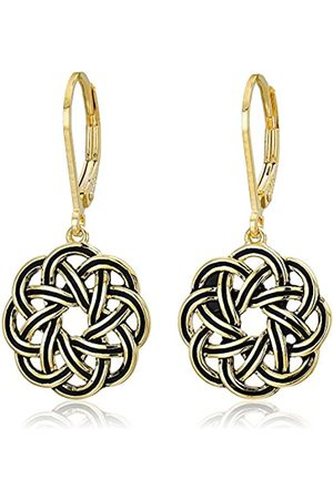 Amazon Collection 18k Gold Plated Sterling Silver Celtic Knot Leverback Dangle Earrings