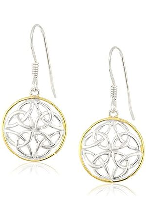 Amazon Collection 18k Plated Sterling Two Tone Celtic Knot Round Drop Earrings