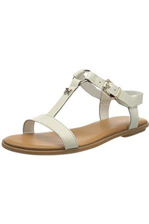 Tommy Hilfiger Women's Feminine Leather Flat Sandal Flip Flops, (Ivory Ybi)