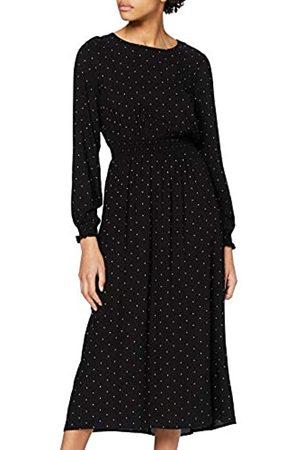 Dorothy Perkins Women's Pin Spot Long Sleeve Shirred Waist Midaxi Dress