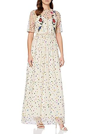 Frock and Frill Women's Rainbow Spotted Mesh Embroidered Maxi Dress Party, (Off- #FFFACD)