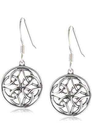 Amazon Collection Sterling Oxidized Celtic Knot Round Drop Earrings