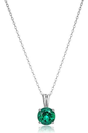 Amazon Collection Sterling Silver Created Emerald 8mm Round May Birthstone Pendant Necklace