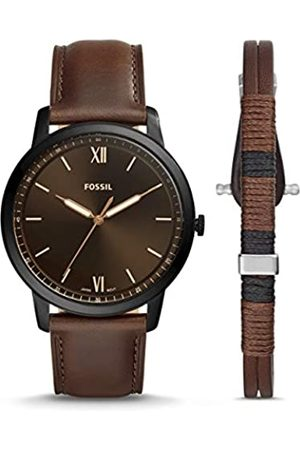 Fossil Mens Analogue Quartz Watch with Leather Strap FS5557SET