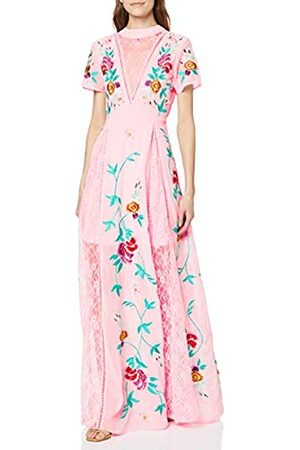 Frock and Frill Women's Gypsy Embroidered Floral Lace Front Maxi Party Dress