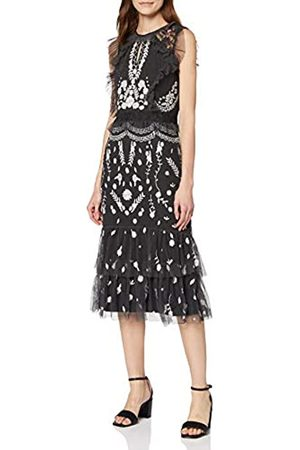 Frock and Frill Women's Jessica Sleeveless Embroidered Fringed Mini Dress Party