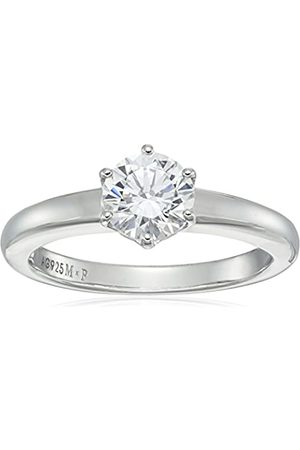 Amazon Collection Platinum-Plated Sterling Solitaire Ring set with Round Swarovski Zirconia (1 cttw)
