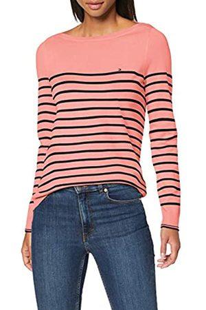 Tommy Hilfiger Women's New Ivy Boat-NK SWTR LS Sweatshirt, (Desert Sky/ Grapefruit STP 0Ec)