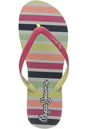 Pepe Jeans Girls' Dorset Beach Stripes Flip Flops, (Bright 338)