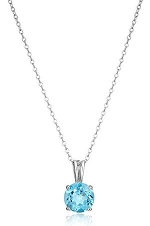 Amazon Collection Sterling Silver Genuine Swiss Topaz 8mm Round December Birthstone Pendant Necklace
