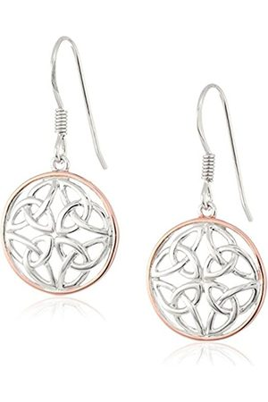 Amazon Collection 14k Rose Plated Sterling Two Tone Celtic Knot Round Drop Earrings