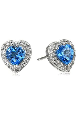 Amazon Collection Sterling Silver Genuine Swiss Blue Topaz and Created White Sapphire Halo Heart Stud Earrings