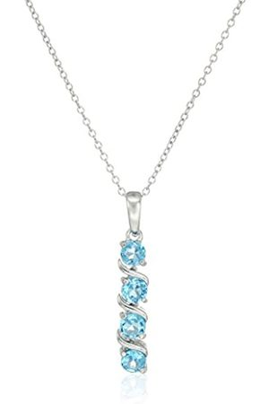 Amazon Collection Sterling Silver Genuine Swiss Topaz Four Stone Pendant Necklace