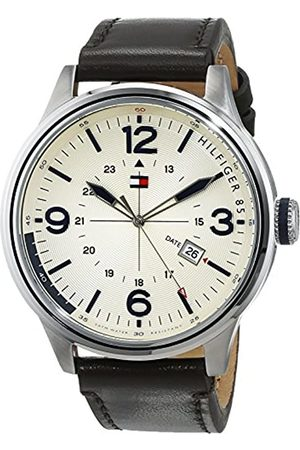Tommy Hilfiger Peter Men's Quartz Watch with Yellow Dial Analogue Display and Brown Leather Strap 1791102
